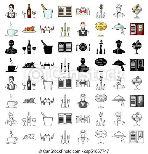 Restaurant set icons in cartoon style. Big collection of restaurant vector symbol stock illustration - csp51857747