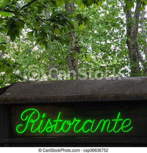 Restaurant sign, in Italy - csp36636752