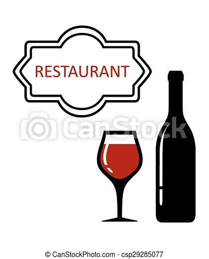 restaurant signboard with glass and bottle - csp29285077