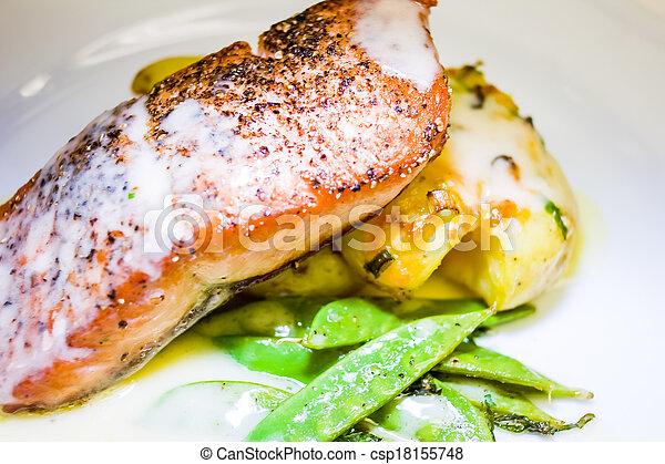 Restaurant Style Salmon Dinner - csp18155748