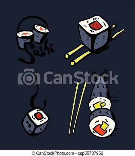restaurant, sushi, ensemble, icônes - csp55707952