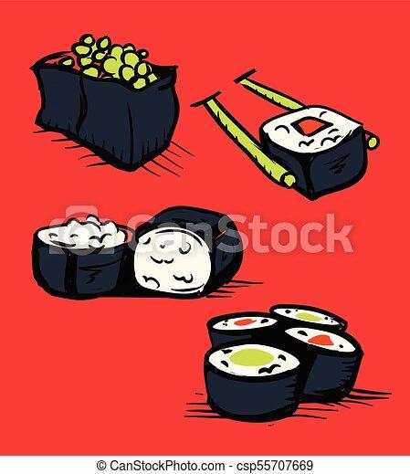 restaurant, sushi, ensemble, icônes - csp55707669