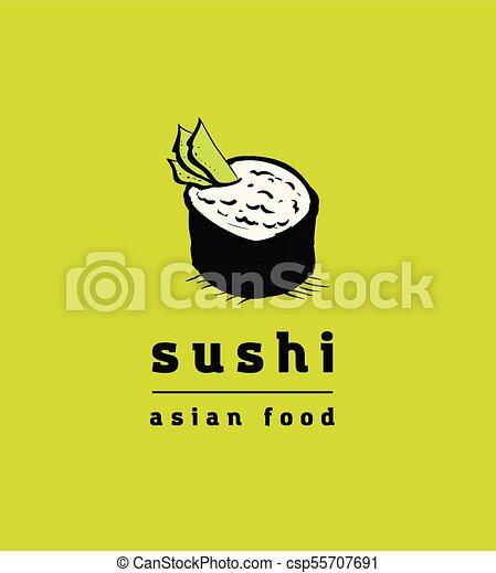 restaurant, sushi, ensemble, icônes - csp55707691