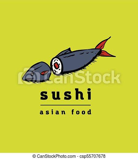 restaurant, sushi, ensemble, icônes - csp55707678