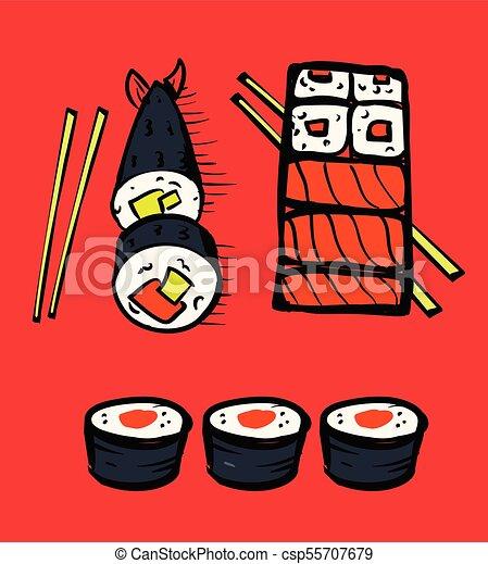 restaurant, sushi, ensemble, icônes - csp55707679