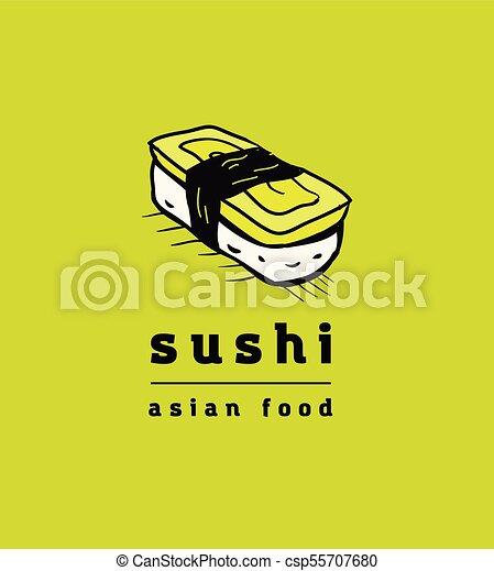 restaurant, sushi, ensemble, icônes - csp55707680