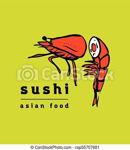 restaurant, sushi, ensemble, icônes - csp55707681