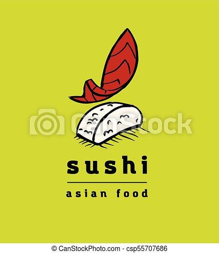 restaurant, sushi, ensemble, icônes - csp55707686