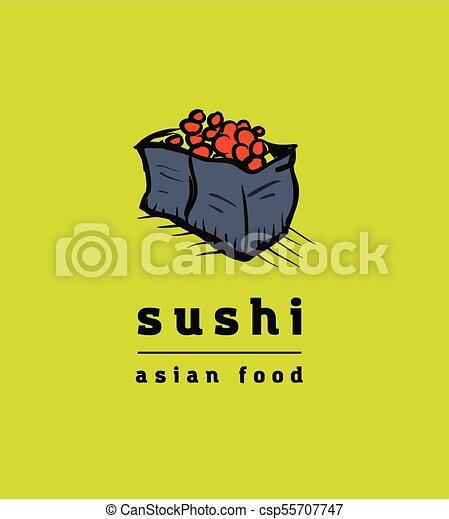 restaurant, sushi, ensemble, icônes - csp55707747