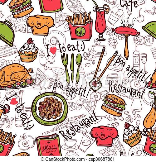 Restaurant Symbols Seamless Pattern Doodle Sketch Cafe Bar Clip