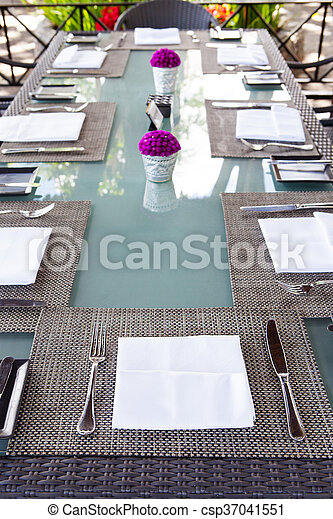 Restaurant Table Setting Copy Space Outdoor Summer Tropical Background.    Csp37041551