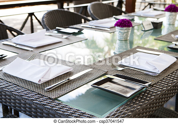 Restaurant Table Setting Copy Space Outdoor Summer Tropical Background.