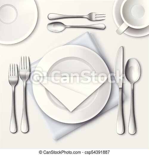 Restaurant table setting. Vector illustration of table setting in ...