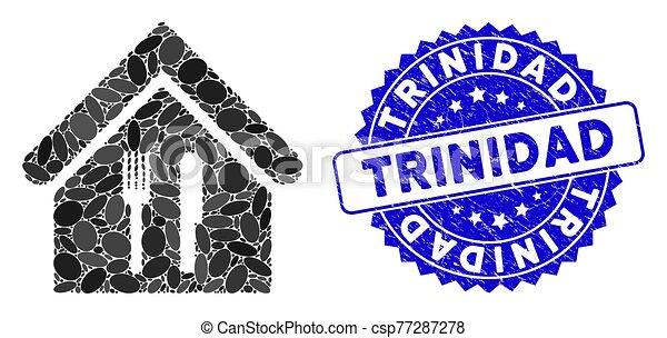 restaurant, timbre, mosaïque, icône, détresse, trinidad - csp77287278
