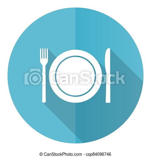 Restaurant vector icon, flat design blue round web button isolated on white background - csp84096746