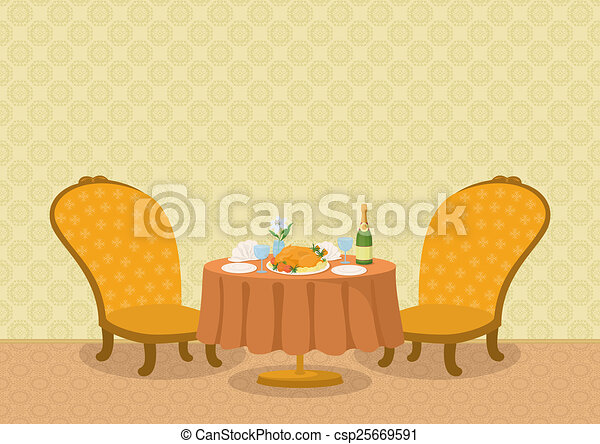 Restaurant with dishes on table - csp25669591