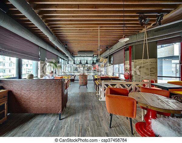 Restaurant with open kitchen - csp37458784