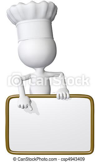 El cocinero de comida señala el menú del restaurante - csp4943409