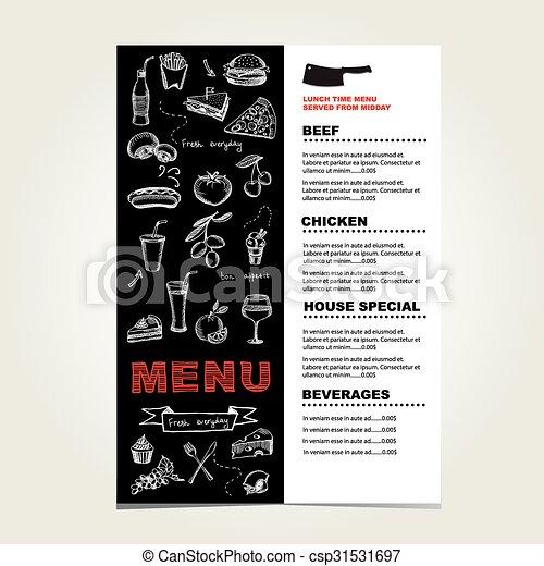 Menú del café restaurante, diseño de plantilla. - csp31531697