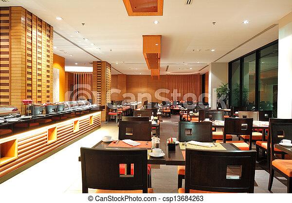 El interior del restaurante moderno en iluminación nocturna, Pattaya, Tailandia - csp13684263