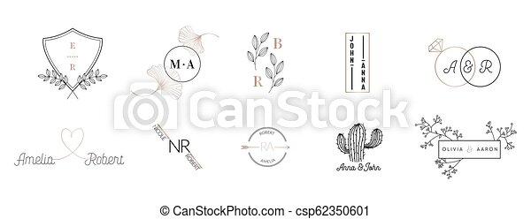Coleccion De Logotipos De Monogramas De Boda Diseños