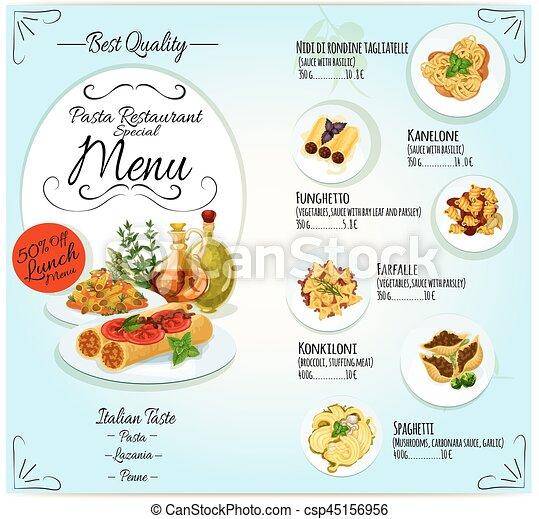 Restaurantmenü, design, schablone, nudelgerichte, italienesche ...