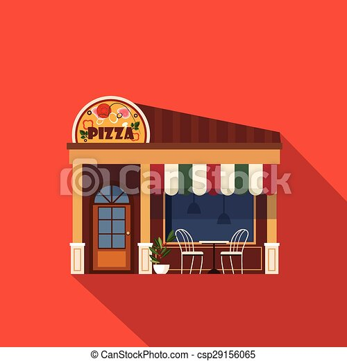 Restaurants And Shops Facade Storefront Vector Detailed