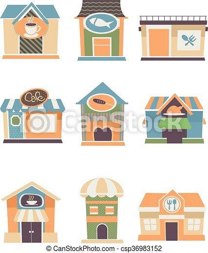 Restaurants Patterns Flat - csp36983152