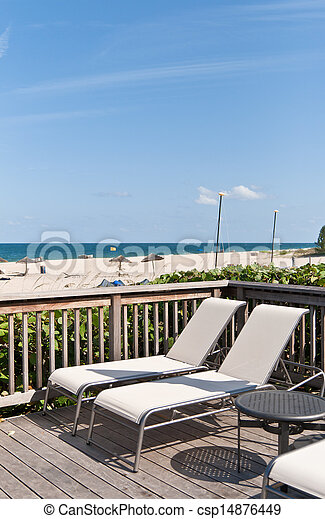 Resting chair in the beach of Miami - csp14876449