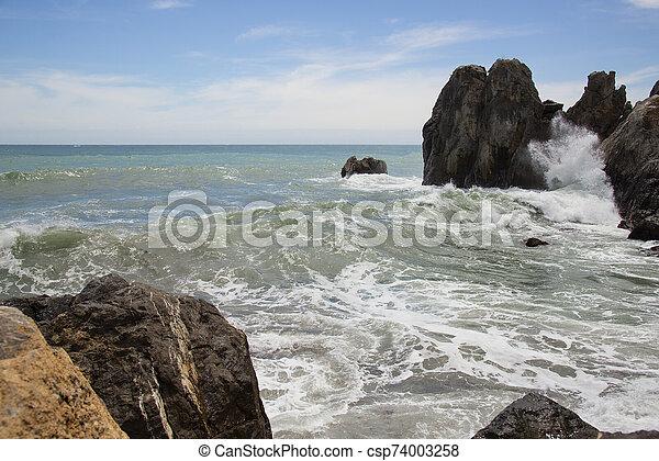 Restless Black Sea in Gurzuf, Crimea - csp74003258