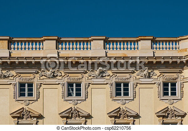Restored historic building facade of the Berliner Stadtschloss ( City Palace ) / Humboldt Forum in Berlin, Germany - csp62210756