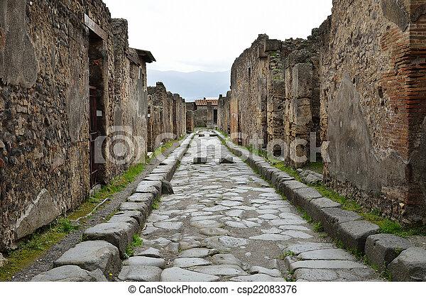Restored street in the ancient Pompeii - csp22083376