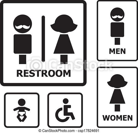restroom sign set for your design rh canstockphoto com Clean Restroom Signs Clip Art ATM Graphic