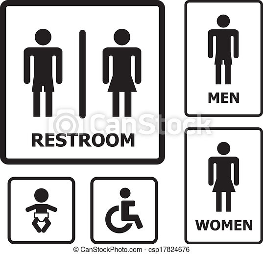 Restroom sign set - csp17824676