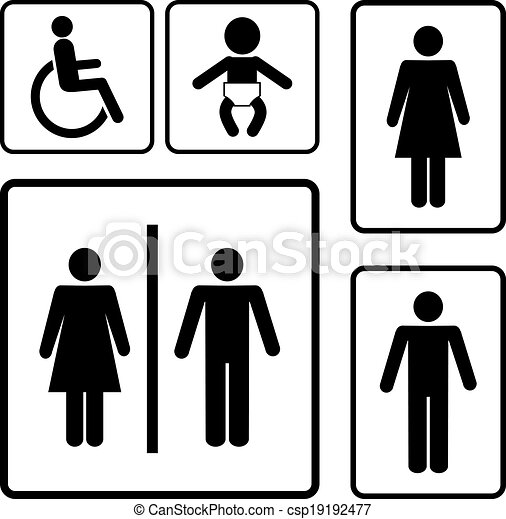 restroom signs restroom vector signs black silhouettes on white rh canstockphoto com family restroom sign vector restroom symbol vector