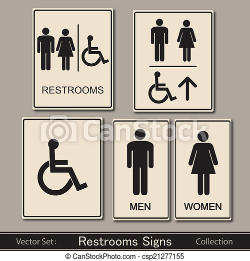 . Restroom Signs Vector Collection