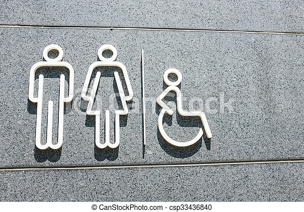 Restroom symbol on mable wall - csp33436840