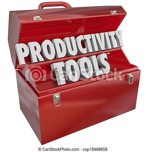 resultado, produtividade, conhecimento, habilidades, positivo, meta, prática, metal, maior, ou, aumento, eficiência, realização, palavras, aprender, resultados, melhorar, ferramentas, toolbox, vermelho, ilustre - csp18468658