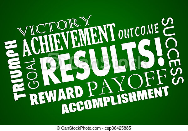 Results Outcome Rewards Goal Accomplished Word Collage - csp36425885