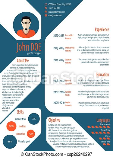 Resume cv template with photo and details. Cool new modern... eps ...