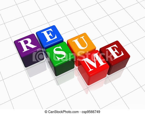 Resume 3d color cubes with white text stock illustration - Search ...