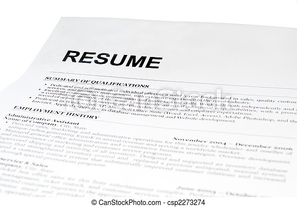 resume form on white - csp2273274