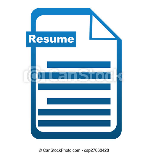 Resume Icon Blue Resume Concept Image With File Symbol With Resume