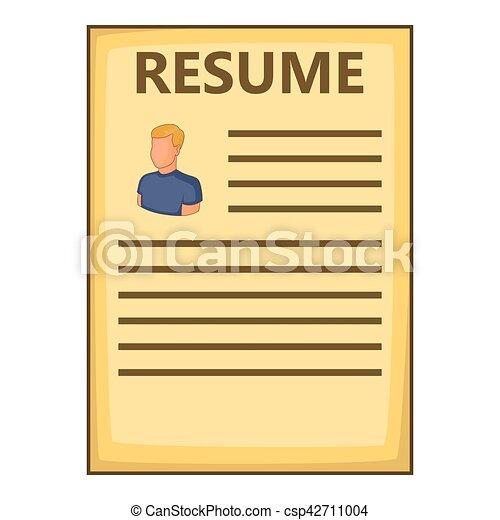 Resume Icon Cartoon Style Resume Icon Cartoon Illustration Of