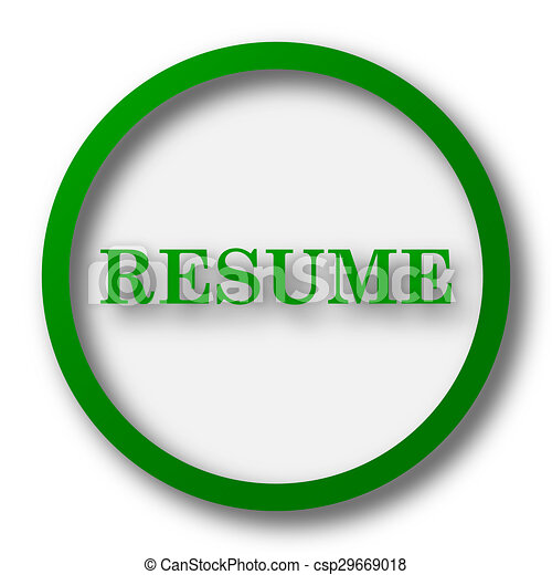 Resume icon. internet button on white background. clipart - Search ...