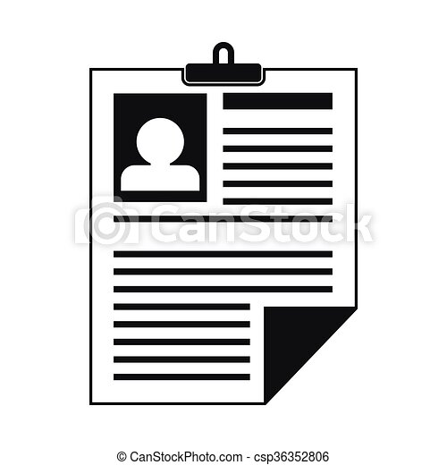 Resume Icon In Simple Style On A White Background