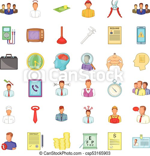 Resume Icons Set Cartoon Style Resume Icons Set Cartoon Style Of