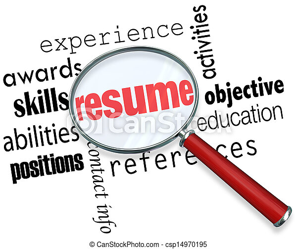 resume magnifying glass apply job experience document a stock