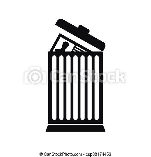 resume thrown away in the trash can icon in simple style clipart rh canstockphoto com