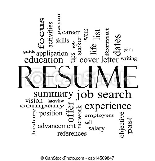 Resume Word Cloud Concept In Black And White Resume Word Cloud
